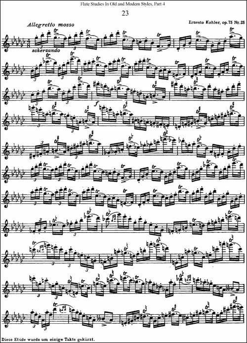 斯勒新老风格长笛练习重奏曲-第四-NO.23-长笛五线谱 长笛谱