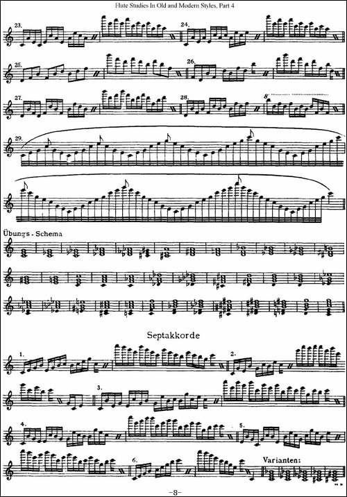 斯勒新老风格长笛练习重奏曲-第四-NO.24-长笛五线谱 长笛谱