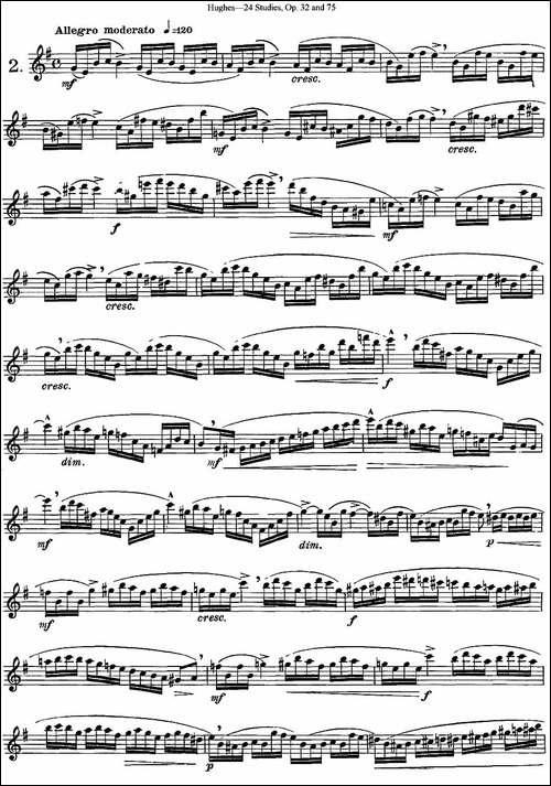 胡埃斯24首练习曲Op.32-NO.2-NO.3-长笛五线谱 长笛谱