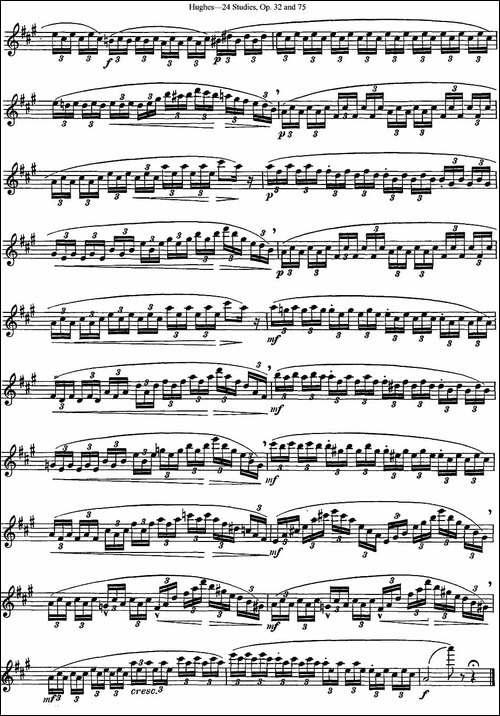 胡埃斯24首长笛练习曲Op.32-NO.13-长笛五线谱 长笛谱