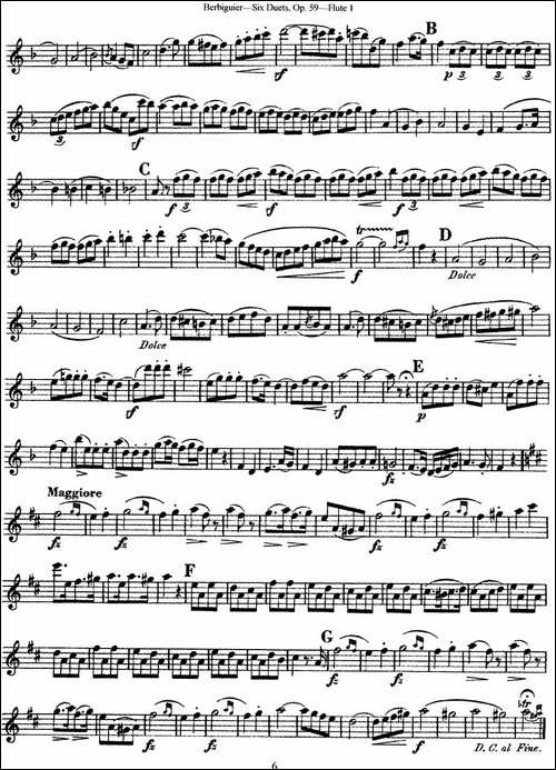 博比格6首长笛二重奏练习曲Op.59-Flute-1-长笛五线谱 长笛谱