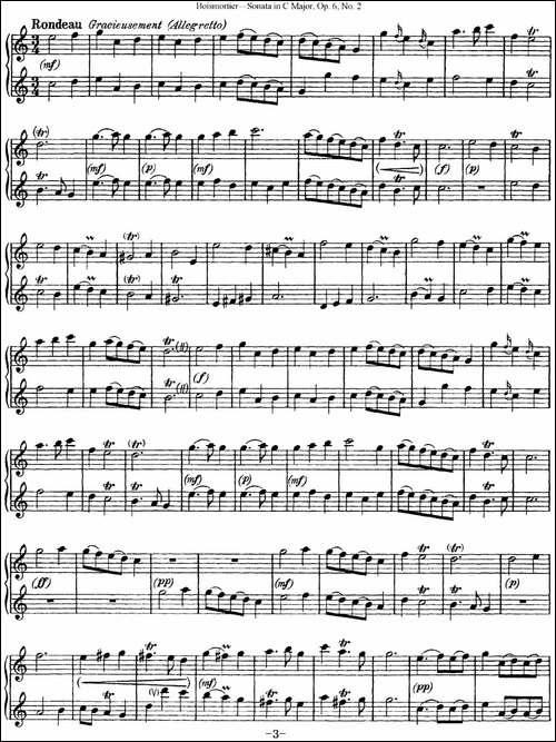 博伊斯卯绨C大调双长笛奏鸣曲Op.6-NO.2-长笛五线谱|长笛谱