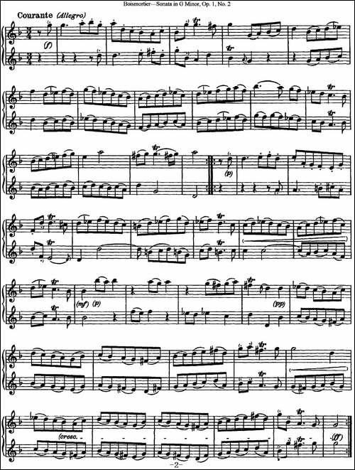博伊斯卯绨G大调双长笛奏鸣曲Op.1-NO.2-长笛五线谱|长笛谱