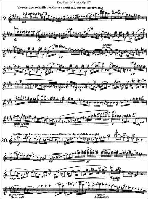 卡-伊勒特30首长笛练习曲Op.107-NO.19-NO.21-长笛五线谱|长笛谱