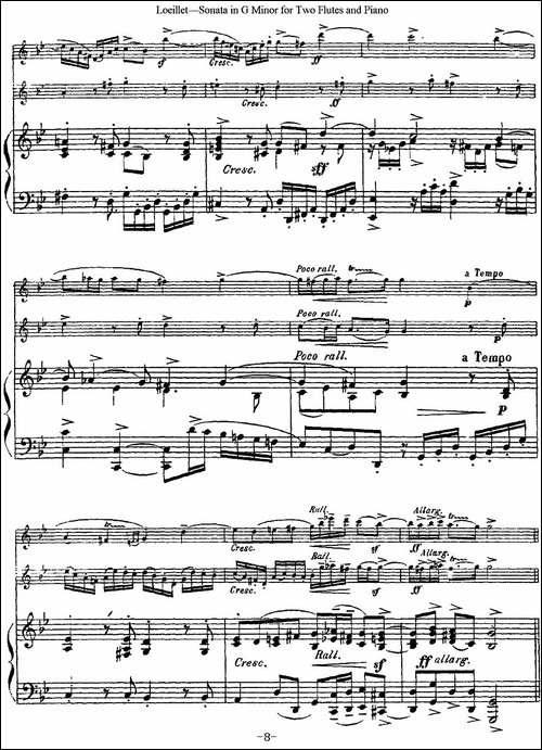 罗埃莱特G小调双长笛与钢琴奏鸣曲-长笛五线谱 长笛谱