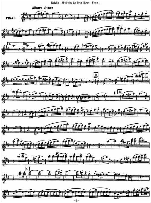 瑞查长笛四重奏-Flute-1-长笛五线谱|长笛谱
