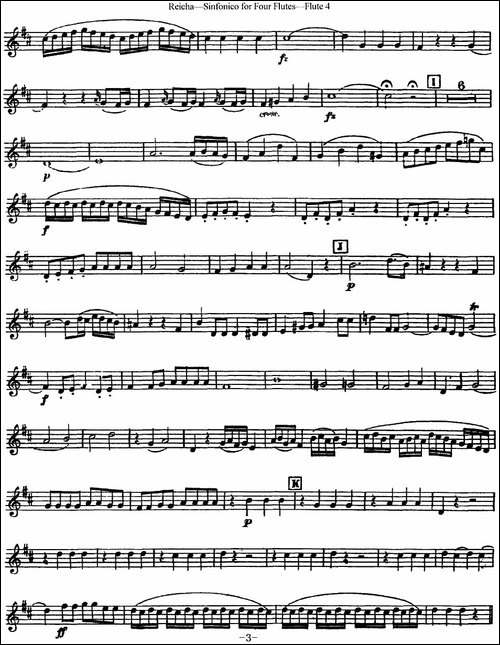 瑞查长笛四重奏-Flute-4-长笛五线谱|长笛谱
