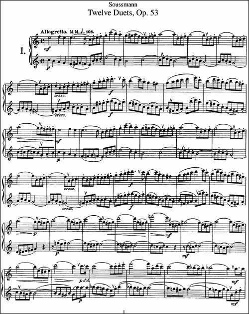 苏斯曼12首长笛重奏曲Op.53-NO.1-NO.4-长笛五线谱 长笛谱