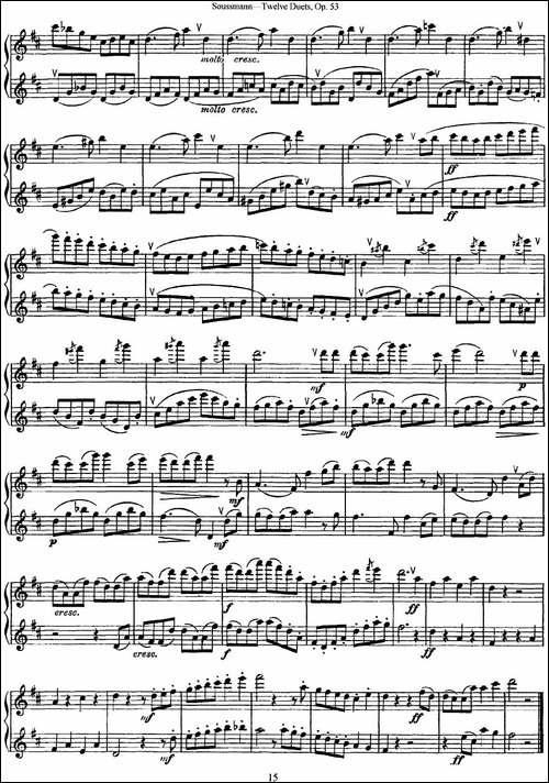 苏斯曼12首长笛重奏曲Op.53-NO.8-NO.9-长笛五线谱|长笛谱