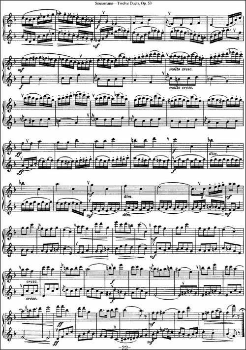 苏斯曼12首长笛重奏曲Op.53-NO.12-长笛五线谱|长笛谱