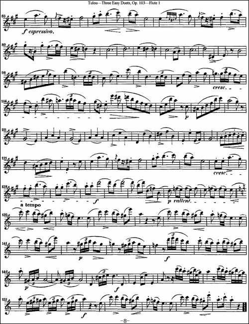 图露三首长笛简易重奏曲Op.103-Flute-1-NO.2-长笛五线谱|长笛谱