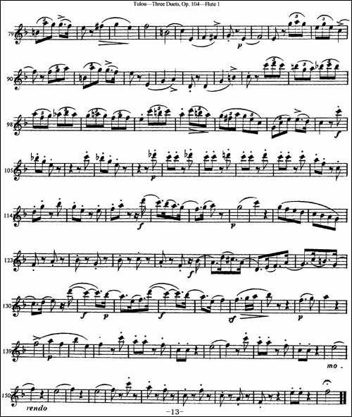图露三首长笛简易重奏曲Op.104-Flute-1-NO.3-长笛五线谱|长笛谱