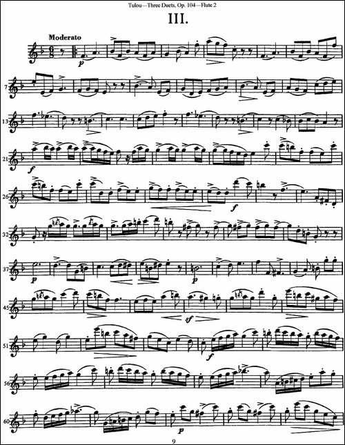 图露三首长笛简易重奏曲Op.104-Flute-2-NO.3-长笛五线谱|长笛谱