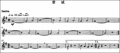 尝试-长笛五线谱|长笛谱