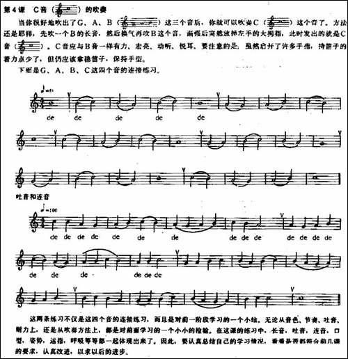 长笛练习曲100课之第4课--C音的吹奏-长笛五线谱 长笛谱