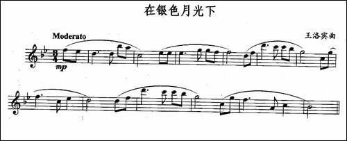 在银色月光下-长笛五线谱 长笛谱