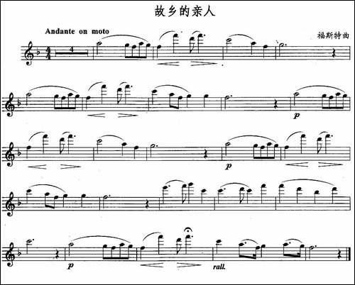 故乡的亲人-长笛五线谱 长笛谱