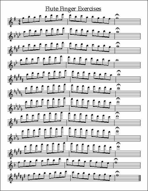 长笛新指法练习-长笛五线谱 长笛谱