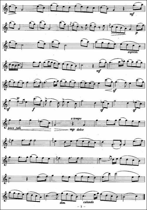 小夜曲-巴顿作曲版-长笛五线谱|长笛谱