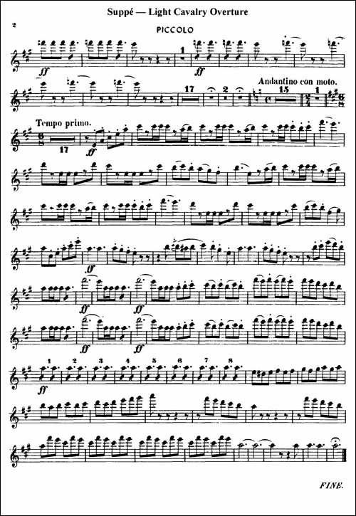 Light-Cavalry-Overture-轻骑兵序曲-管乐合奏-长笛五线谱|长笛谱