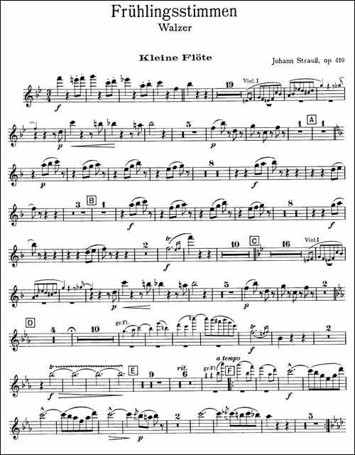 春之声圆舞曲-管弦乐合奏短笛分谱-长笛五线谱 长笛谱