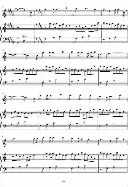 爱的供养-电视剧《宫》主题曲、长笛+钢琴-长笛五线谱 长笛谱