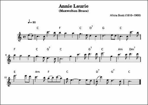 安妮萝莉-Annie-Laurie-长笛五线谱|长笛谱