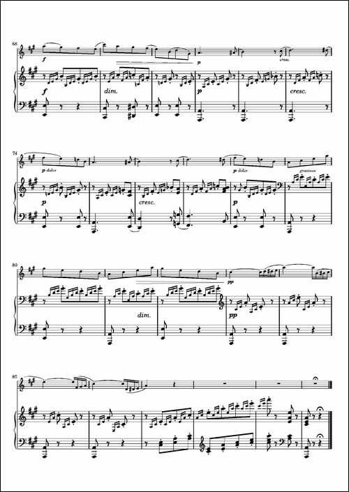 春之歌-Spring-Song作品62--长笛+钢琴-长笛五线谱 长笛谱