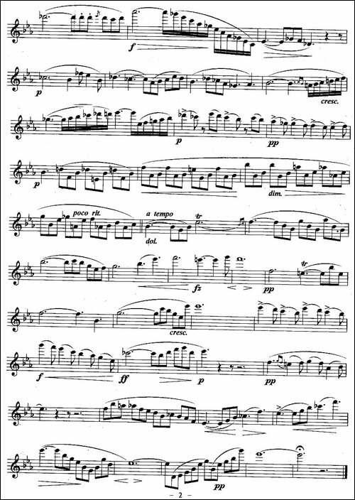 如歌的行板-波姆作曲版-长笛五线谱|长笛谱