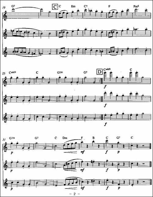 雪中铃声-三重奏-长笛五线谱 长笛谱