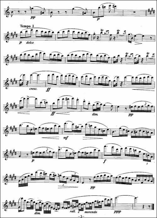 摇篮曲-多普勒作曲版-长笛五线谱|长笛谱