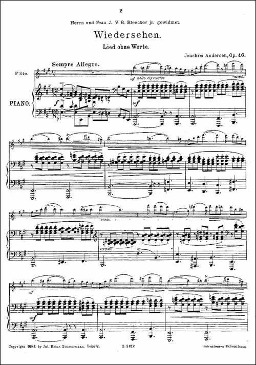 Wiedersehen.Op.46-长笛+钢琴伴奏-长笛五线谱 长笛谱