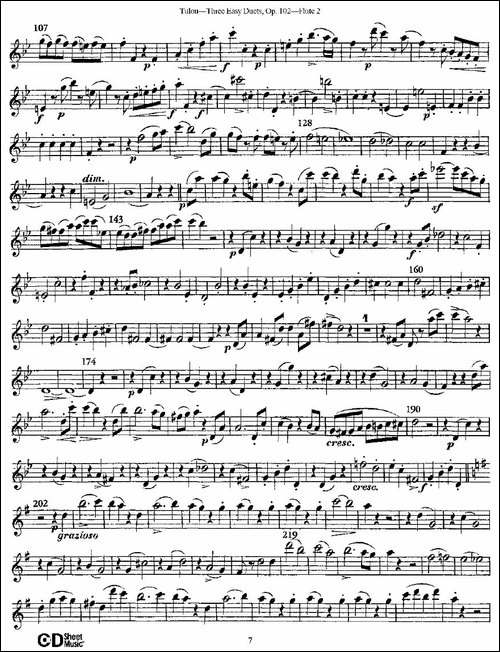 Three-Easy-Duets,Op.102-之第二长笛-三首简易-长笛五线谱|长笛谱