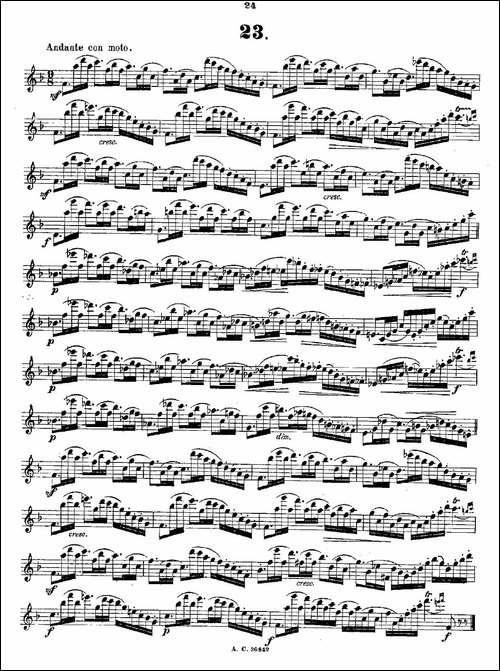 24首长笛练习曲-Op.21-之13—24-长笛五线谱|长笛谱