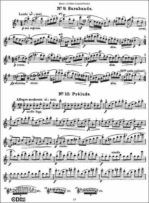 Bach-24-Flutc-Concert-Studies-之6—10-巴赫-长笛五线谱 长笛谱