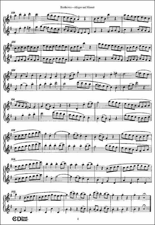 Allegro-and-Minuet-快板及小步舞曲-长笛五线谱|长笛谱