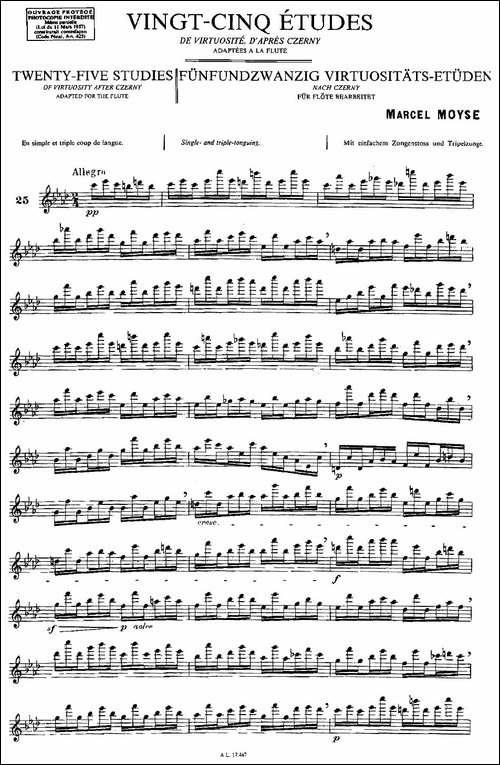 Moyse-25-Studies-after-Czerny-flute-之25-2-长笛五线谱|长笛谱