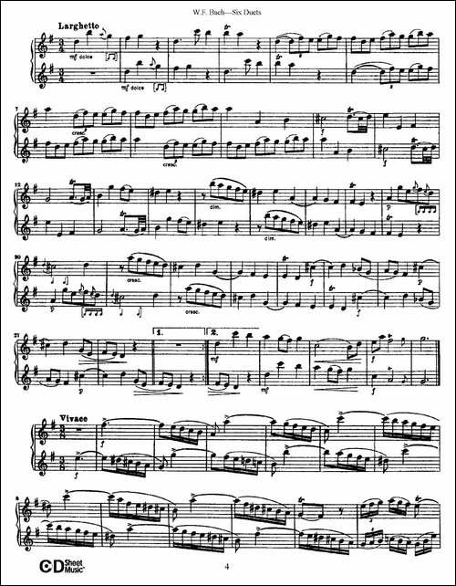 W.F.巴赫—六首二重奏练习曲-1-长笛五线谱|长笛谱