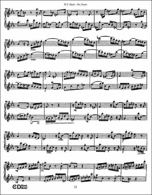 W.F.巴赫—六首二重奏练习曲-3-长笛五线谱|长笛谱