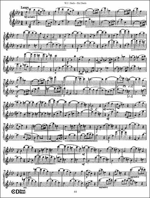 W.F.巴赫—六首二重奏练习曲-6-长笛五线谱 长笛谱
