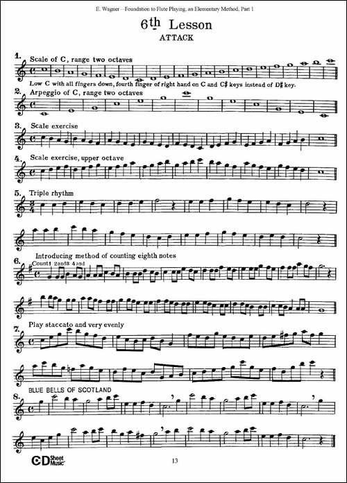 长笛演奏基础教程练习-1—10-长笛五线谱 长笛谱