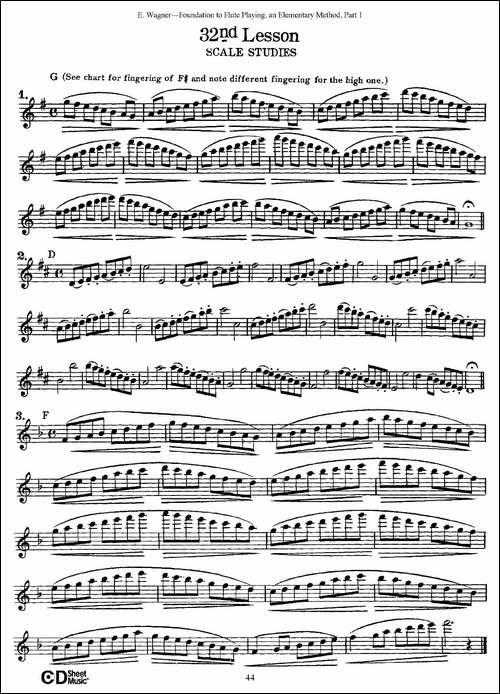 长笛演奏基础教程练习-31—40-长笛五线谱|长笛谱