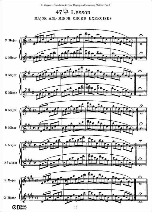长笛演奏基础教程练习-47—52-长笛五线谱 长笛谱