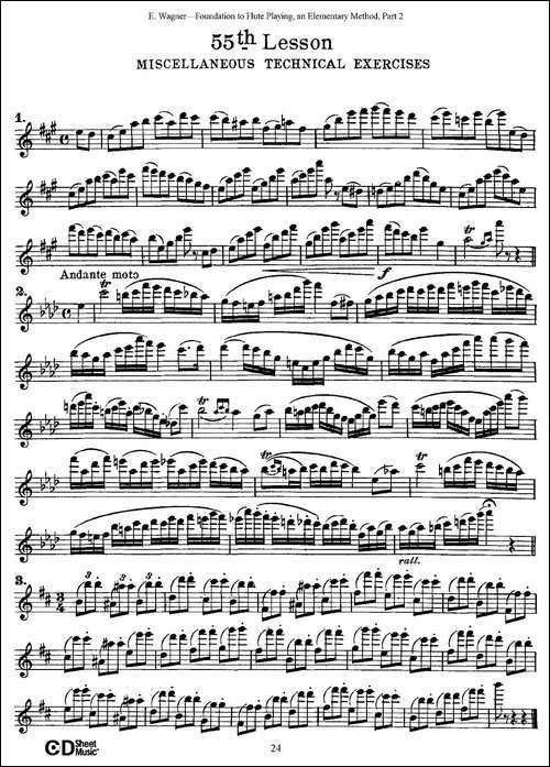 长笛演奏基础教程练习-53—59-长笛五线谱 长笛谱