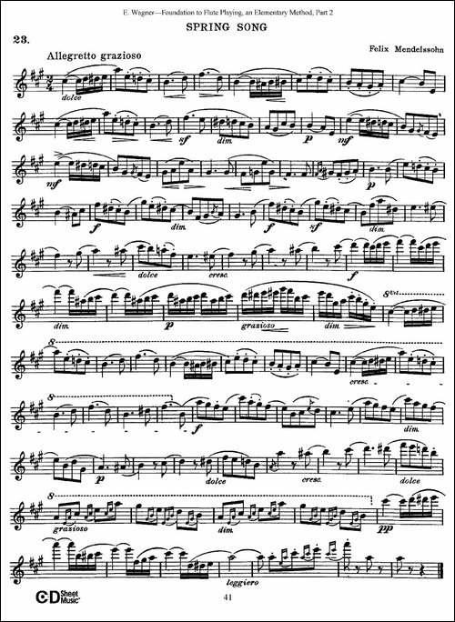 长笛演奏基础教程练习-Collection-of-Songs-an-长笛五线谱|长笛谱