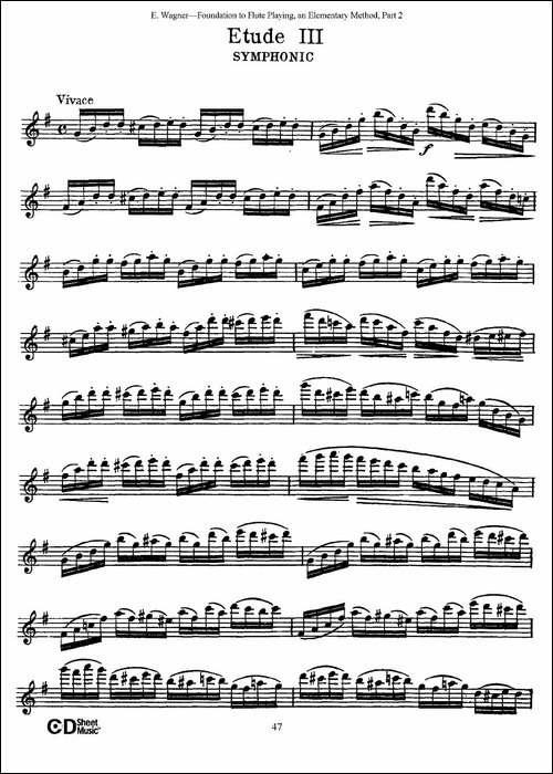 长笛演奏基础教程练习-Etude-3-长笛五线谱|长笛谱