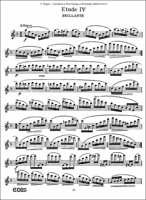长笛演奏基础教程练习-Etude-4-长笛五线谱|长笛谱