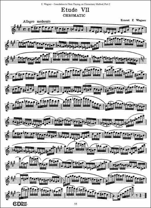 长笛演奏基础教程练习-Etude-7-长笛五线谱|长笛谱