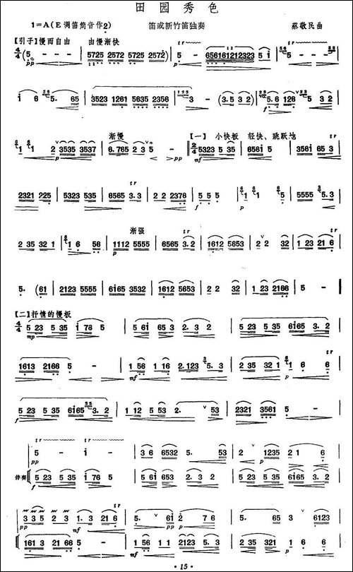 田园秀色-笛箫间谱|笛箫谱