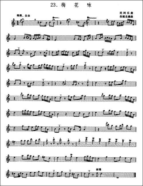 梅花咏-箫-五线谱-笛箫简谱 笛箫谱